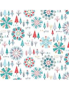 Tissu en coton collection Skogen metallic Winter