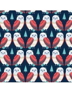 Tissu en coton collection Skogen metallic Owls