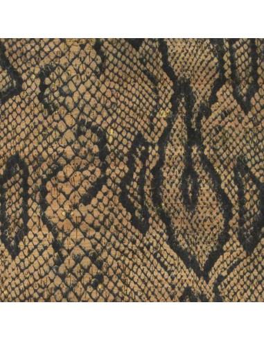 Tissu en liège impression serpent et doré