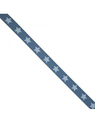 Ruban Gros grain à étoiles Bleu