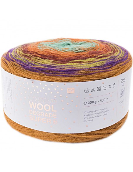 Pelote Creative wool dégradé super 6 orange-vert