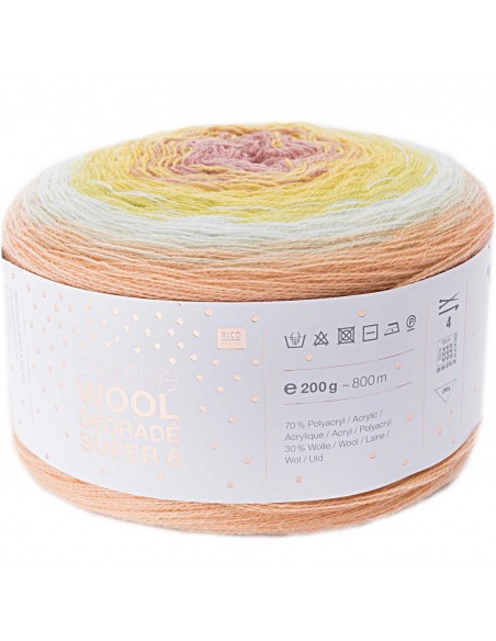 Pelote Creative wool dégradé super 6 saumon-vert