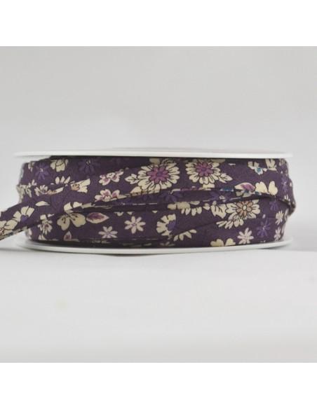 Biais coton 18mm Fleuri Mia coloris Orchidée
