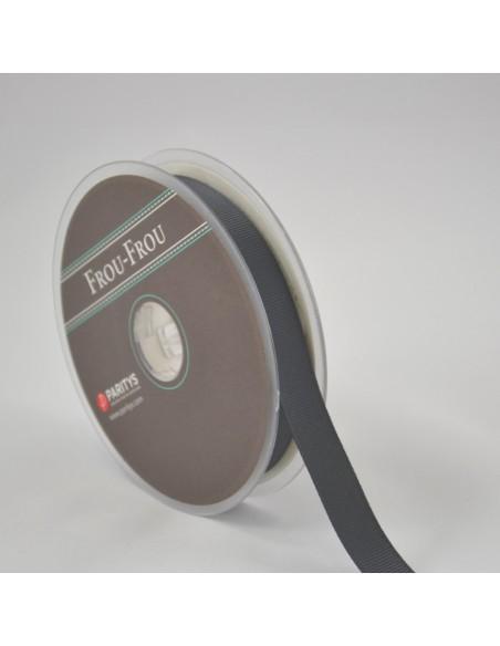 Ruban Gros grain unis 16mm Anthracite