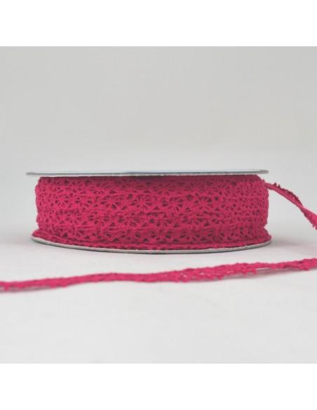 Dentelle polyester 15mm Rose framboise