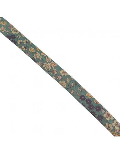 Biais coton 18mm Fleuri Mia coloris Canard
