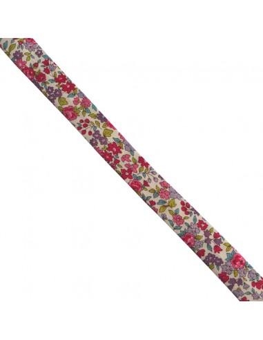 Biais coton 18mm Fleuri Nina coloris Framboise
