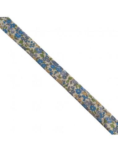 Biais coton 18mm Fleuri Nina coloris Bleu