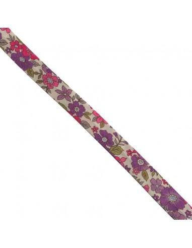 Biais coton 18mm Fleuri Lisa coloris Mauve