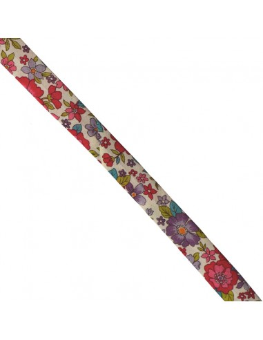 Biais coton 18mm Fleuri Lisa coloris Framboise