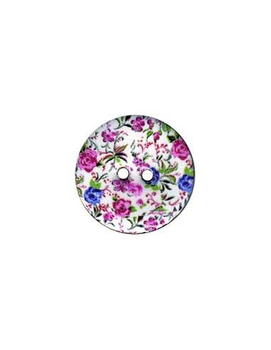 Bouton Coco décoré 23mm Fleurs