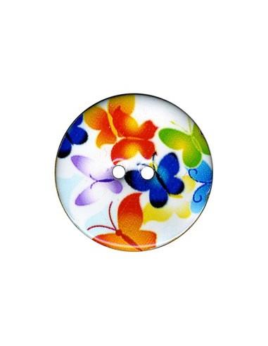 Bouton Coco décoré 34mm Papillon