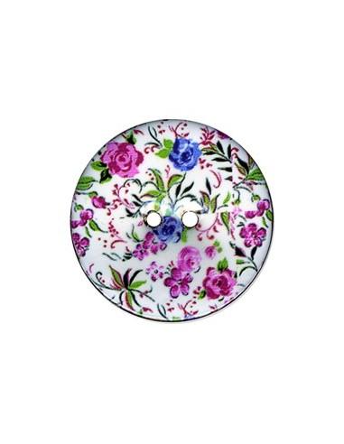 Bouton Coco décoré 34mm Fleurs