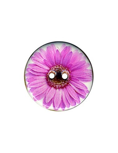 Bouton Coco décoré 34mm Gerbera