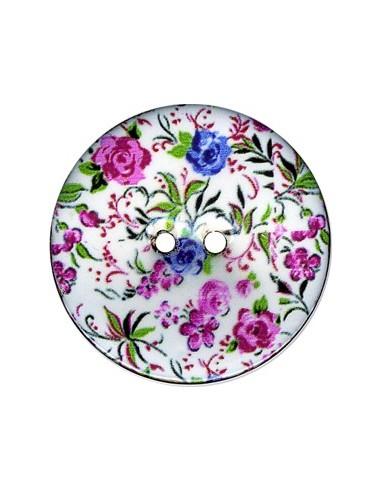 Bouton Coco décoré 43mm Fleurs