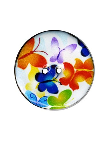 Bouton Coco décoré 43mm Papillons