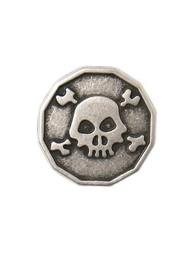 Bouton en Métal Tête de mort 15mm Vieil argent