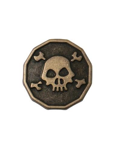 Bouton en Métal Tête de mort 15mm Vieil or