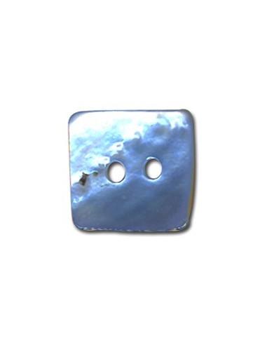 Bouton Carré en Nacre 10mm Bleu