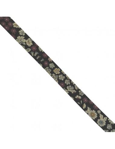 Biais coton 18mm Fleuri Mia coloris Noir
