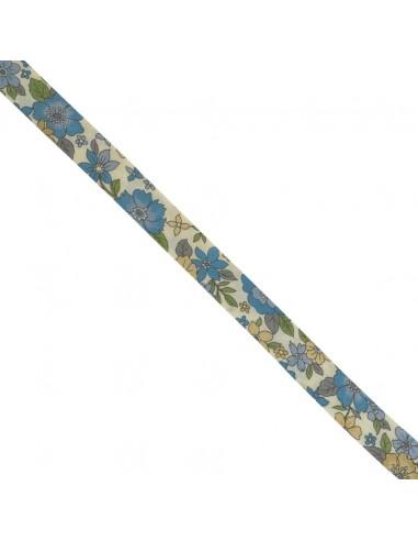 Biais coton 18mm Fleuri Lisa coloris Bleu