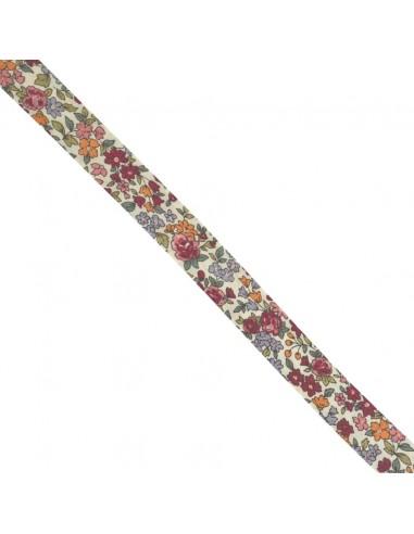Biais coton 18mm Fleuri Nina coloris Cerise