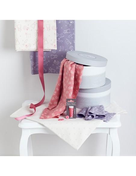 Tissu en coton I Love Couture Rose Poudre motif 119
