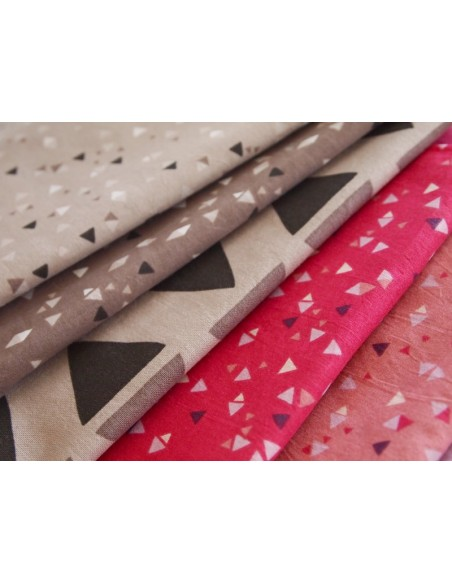 Tissu en coton léger Kirigami Mini's Taupe