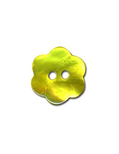 Bouton Fleur en Nacre 18mm Anis