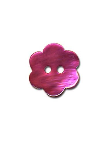 Bouton Fleur en Nacre 18mm Fushia