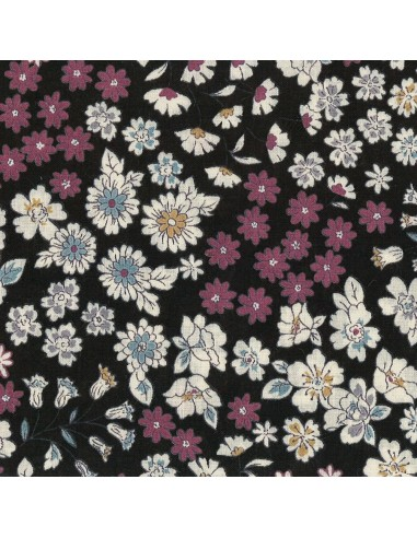 Tissu en coton léger Fleuri Mia coloris noir