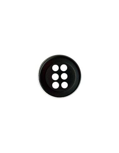 Bouton Six trous 11mm Noir
