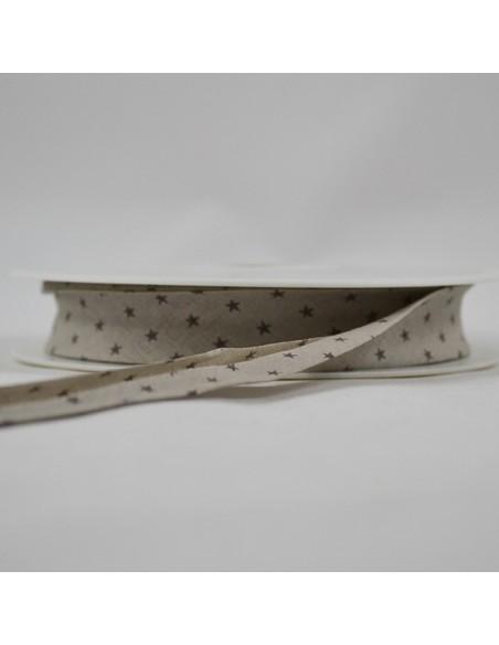 Biais coton 20mm Craie à Etoiles taupe