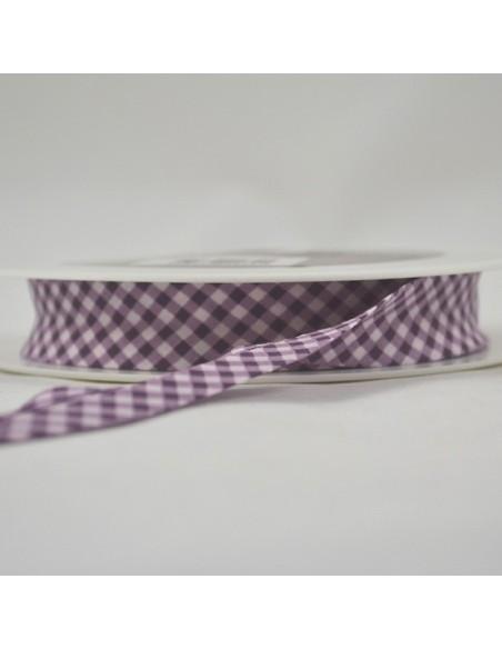 Biais coton 20mm Vichy Rose perle-Aubergine