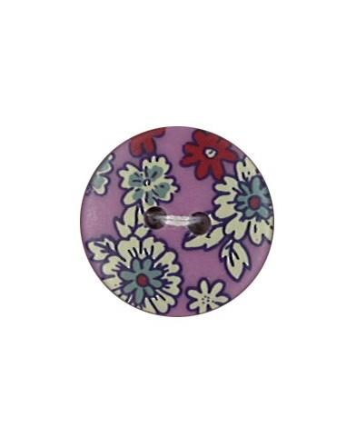 Bouton Polyester 18 mm imprimé fleuri motif Mia coloris Pivoine