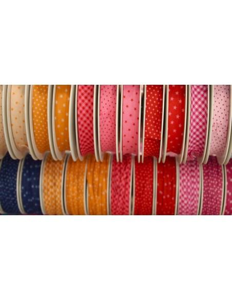 Biais coton 20mm Cerise à Etoiles Pivoine