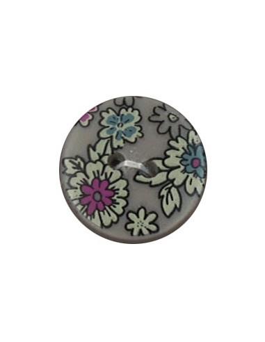 Bouton Polyester 18 mm imprimé fleuri motif Mia coloris Sable