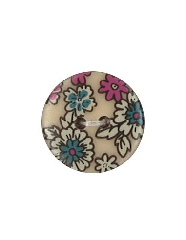 Bouton Polyester 18 mm imprimé fleuri motif Mia coloris Chair
