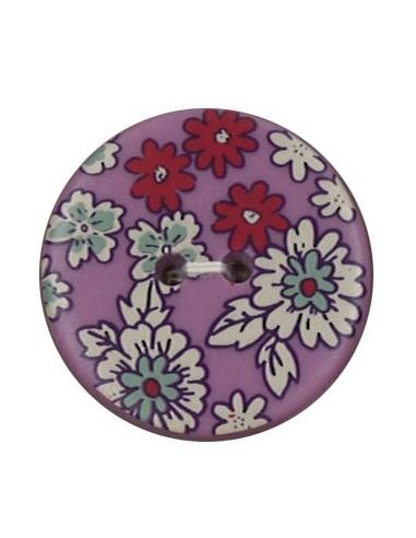 Bouton Polyester 25 mm imprimé fleuri motif Mia coloris Pivoine