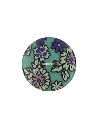 Bouton Polyester 18 mm imprimé fleuri motif Mia coloris Canard