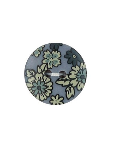 Bouton Polyester 18 mm imprimé fleuri motif Mia coloris Bleu
