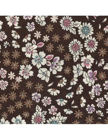 Tissu en coton léger Fleuri Mia coloris café