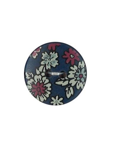 Bouton Polyester 18 mm imprimé fleuri motif Mia coloris Marine