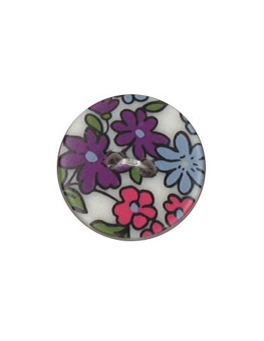 Bouton Polyester 18 mm imprimé fleuri motif Nina coloris Mauve
