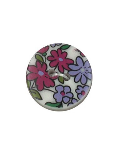 Bouton Polyester 18 mm imprimé fleuri motif Nina coloris Framboise
