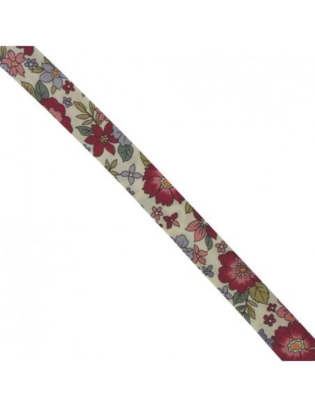 Biais coton 18mm Fleuri Lisa coloris Cerise