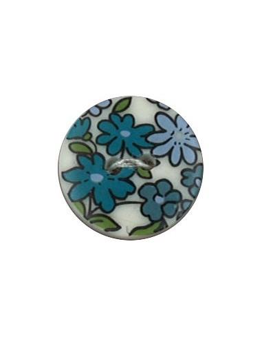 Bouton Polyester 18 mm imprimé fleuri motif Nina coloris Bleu