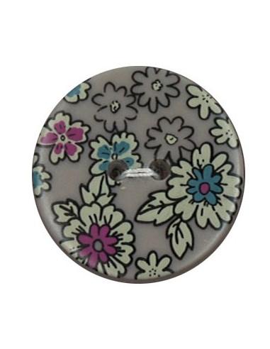 Bouton Polyester 25 mm imprimé fleuri motif Mia coloris Sable