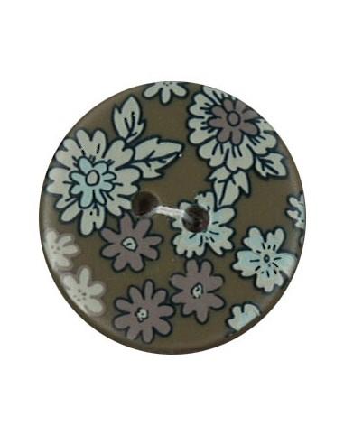Bouton Polyester 25 mm imprimé fleuri motif Mia coloris Olive