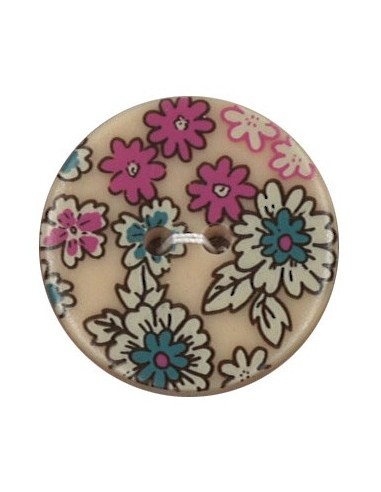 Bouton Polyester 25 mm imprimé fleuri motif Mia coloris Chair